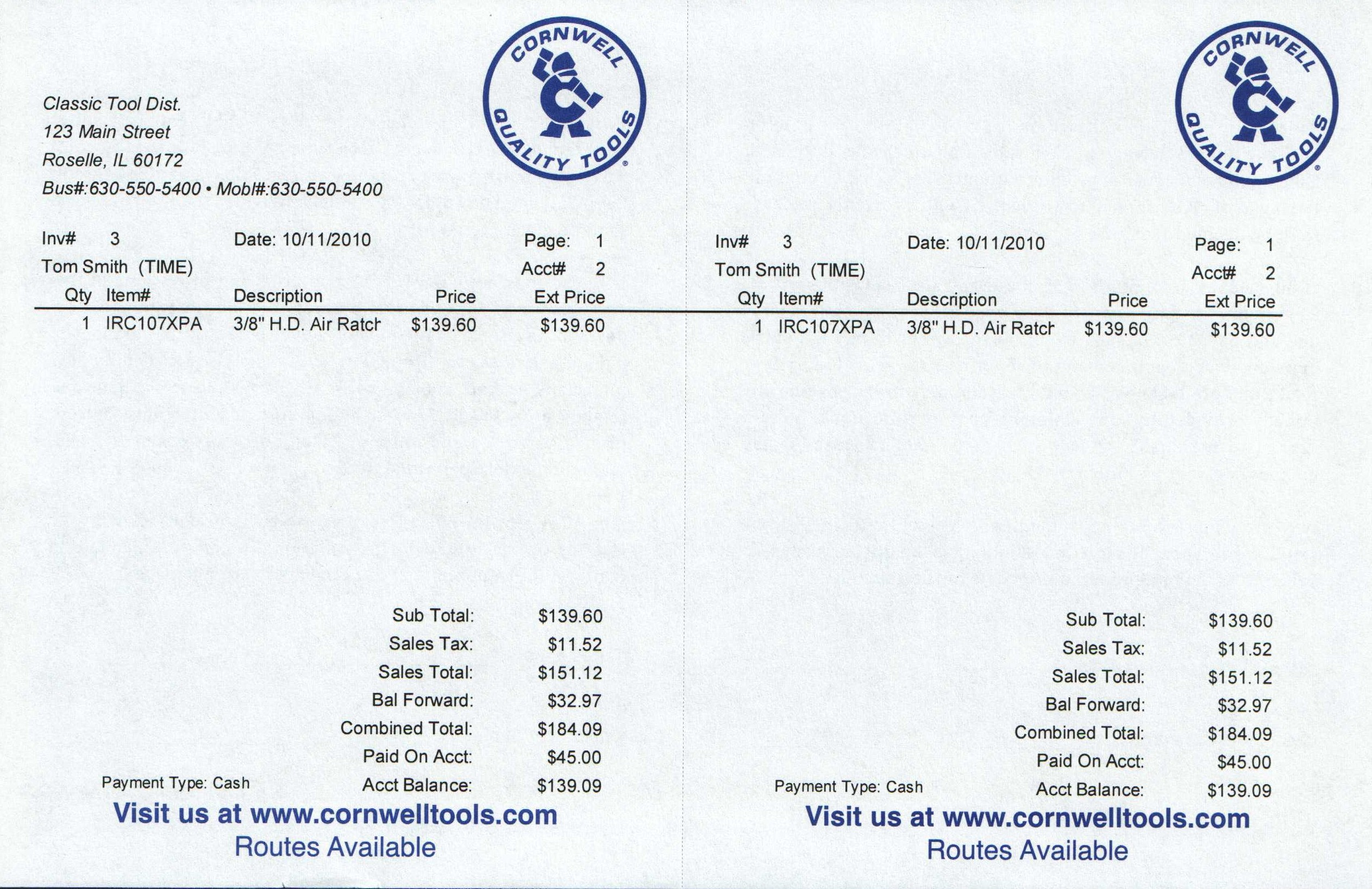 Cornwell Logo 1/4 page Invoice Paper