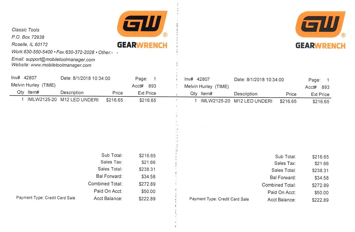 GearWrenchStreet Team Logo 1/4 Page Invoice Paper